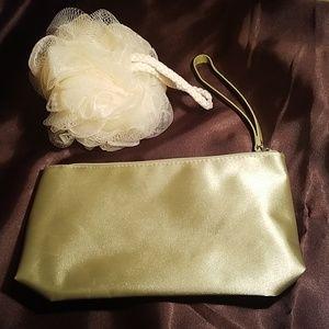 Handbags - NEW - SATIN MAKEUP CASE & POUF